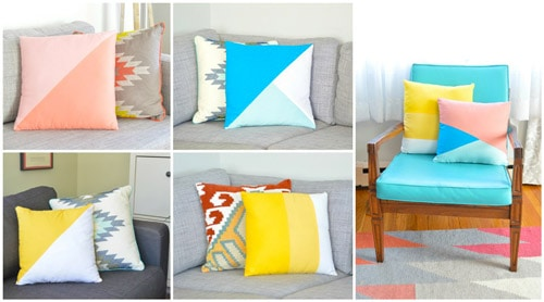 Color-Block Throw Pillows - DIY sewing projects