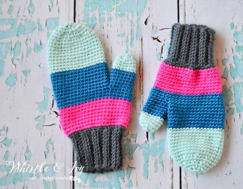 Color Block - crochet mittens