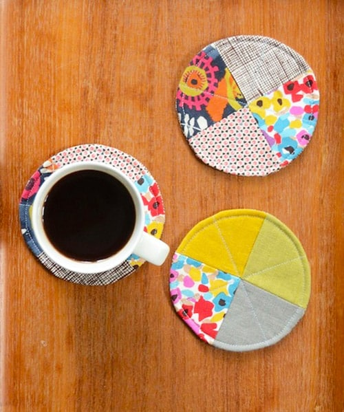 Quilted Circle Coasters - simple sewing projects
