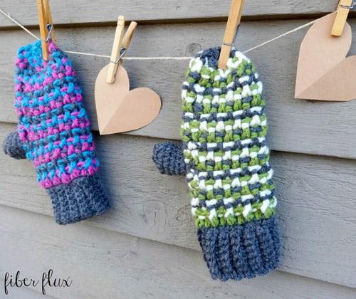 Sleigh Ride - crochet mittens