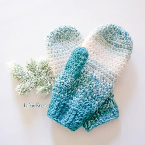 Wool-ish - crochet mittens