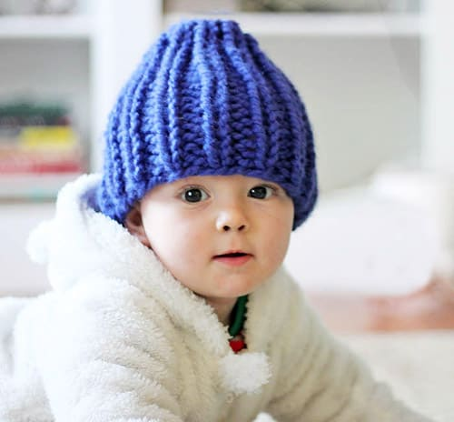 Easy Baby Beanie - one-skein knitting patterns