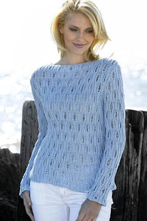 Openwork Boatneck Pullover - knit sweater patterns