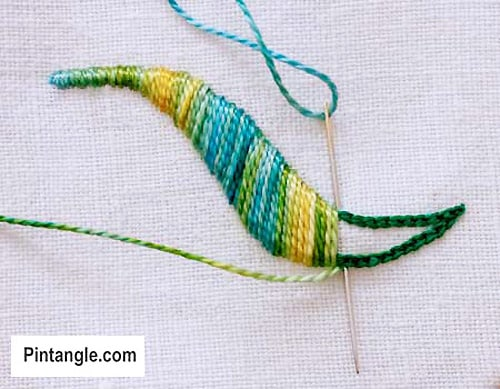 Outlined Satin Stitch - sewing stitches