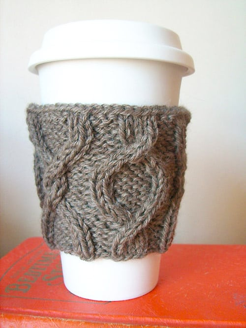 Twisted Coffee Cozy - one-skein knitting patterns