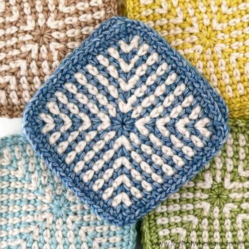 Two-Colour Linen Stitch Square - easy crochet squares