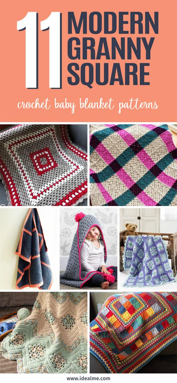 Here we've gathered crochet baby blanket patterns that makes use of grannies in a modern way. #crochet #crochetbabyblanket #grannysquare #crochetgrannysquare