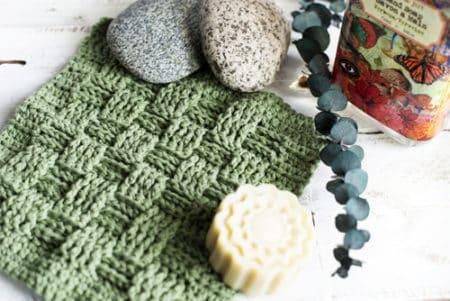 Basket Weave - crochet washcloth