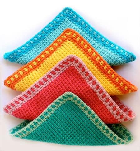 Tunisian - crochet washcloth