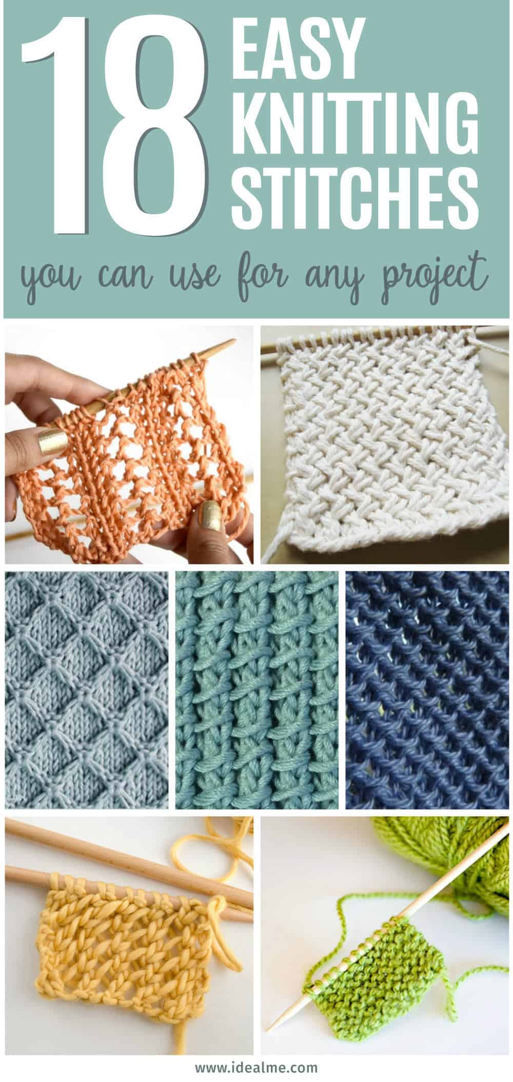 List All Knitting Stitches : 18 Easy Knitting Stitches You Can Use for Any Project - Ideal Me