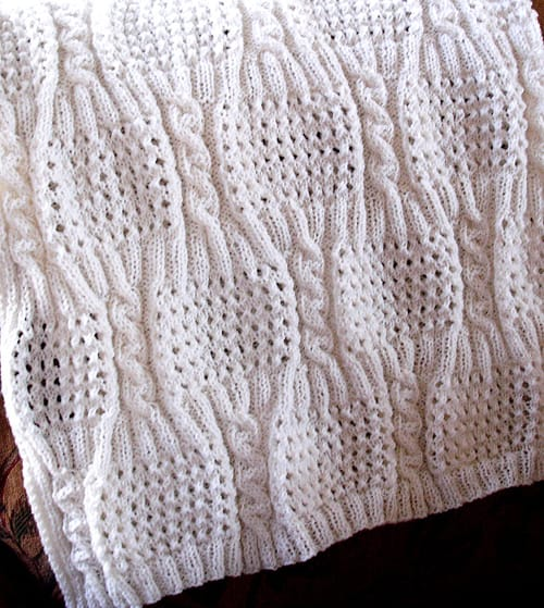 Cabled Eyelet - free baby blanket knitting patterns