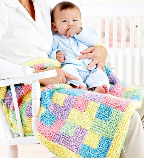 Rainbow Quilt - free baby blanket knitting patterns