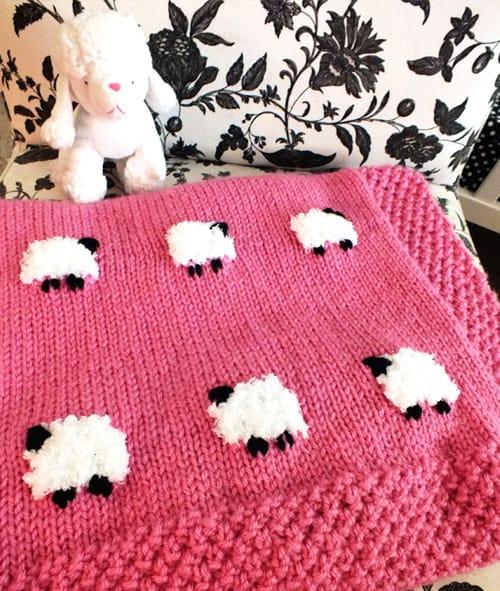 Sheep - free baby blanket knitting patterns