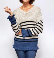 Breton Ruffle Cuff Sweater Crochet Pattern