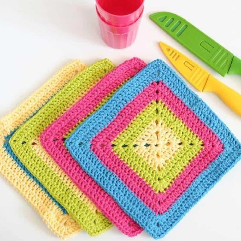 Colorful Solid Granny Square Dishcloth Crochet Pattern Ideal Me