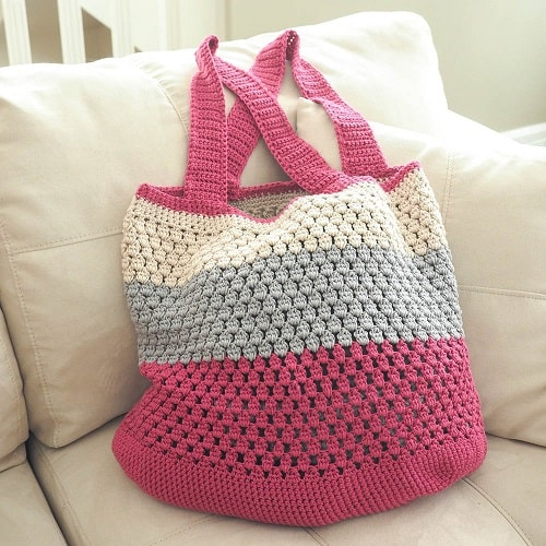 Puff Stitch Market Bag Crochet Pattern Ideal Me