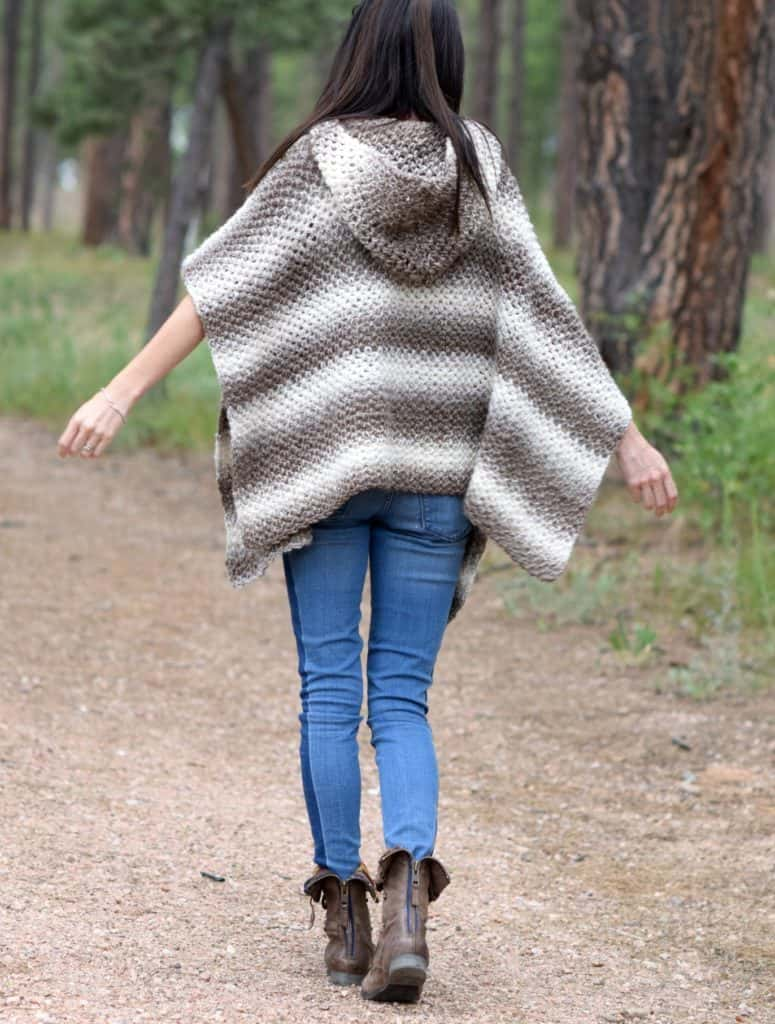 Driftwood Oversized Hooded Poncho - If you want to learn how to make a poncho, this list of 18 free crochet poncho patterns will help you. Pick your favorite from this bunch and start creating. #CrochetPonchoPatterns #FreeCrochetPatterns #CrochetAddict