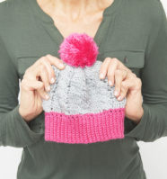 Pink Pom Cable Beanie Crochet Pattern